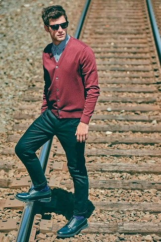 How to wear: black leather derby shoes, black jeans, blue gingham dress shirt, red cardigan