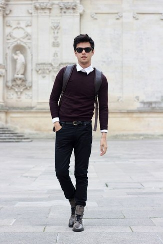 How to wear: grey leather casual boots, black jeans, white dress shirt, burgundy crew-neck sweater
