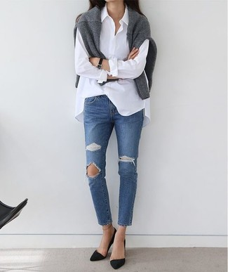 How to wear: black suede pumps, blue ripped jeans, white dress shirt, grey crew-neck sweater