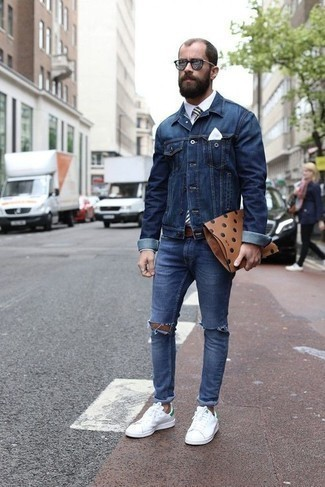 How to Wear Silver Sunglasses For Men: Pair a navy denim jacket with silver sunglasses to assemble an interesting and laid-back outfit. Boost the dressiness of this outfit a bit by sporting white and green canvas low top sneakers. This outfit proves how men over 30 kill in the style department.