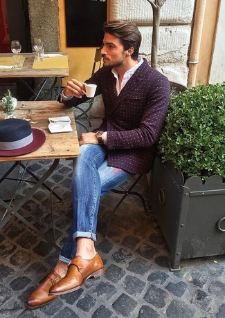 How to wear: brown leather monks, blue ripped jeans, white dress shirt, burgundy polka dot double breasted blazer