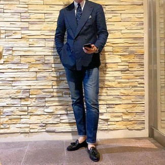 How to wear: black leather tassel loafers, navy jeans, white dress shirt, navy double breasted blazer