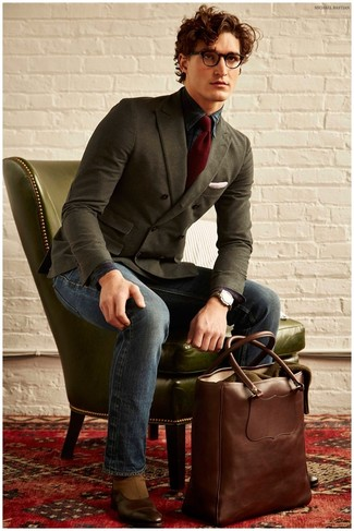 How to wear: brown leather chelsea boots, navy jeans, dark green plaid dress shirt, olive double breasted blazer