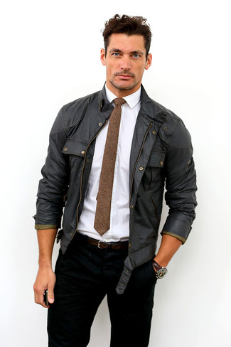 How to wear: brown wool tie, black jeans, white dress shirt, black field jacket