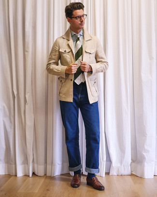 How to wear: brown leather loafers, blue jeans, white and blue vertical striped dress shirt, beige linen field jacket