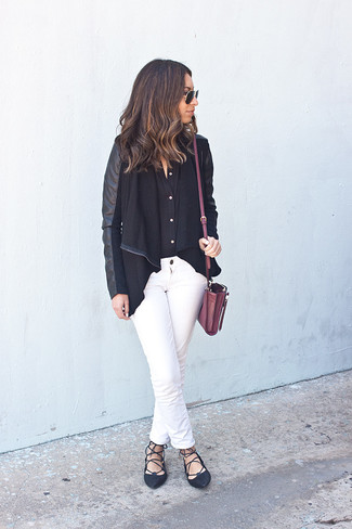 How to wear: black leather ballerina shoes, white jeans, black dress shirt, black open jacket