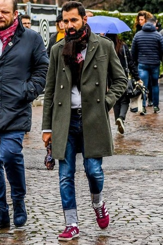 How to wear: red suede low top sneakers, blue jeans, white dress shirt, olive overcoat