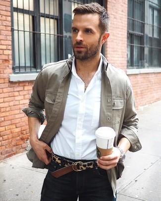 How to wear: dark brown leopard leather belt, black jeans, white dress shirt, grey shirt jacket