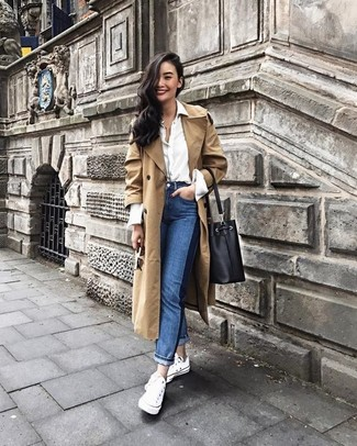 How to wear: white canvas low top sneakers, blue jeans, white dress shirt, tan trenchcoat