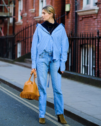 How to wear: olive suede ankle boots, blue jeans, blue vertical striped dress shirt, navy turtleneck