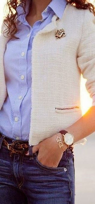 How to wear: brown leopard belt, blue jeans, light blue vertical striped dress shirt, white tweed jacket