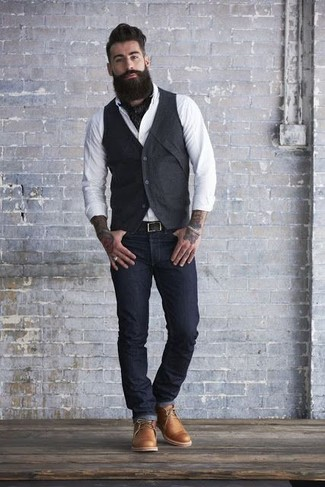 How To Wear Tobacco Leather Desert Boots With Black Jeans (9