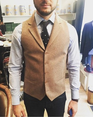 How to wear: black knit tie, navy jeans, white dress shirt, tan wool waistcoat