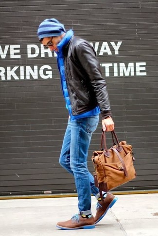 How to wear: brown leather derby shoes, blue jeans, blue quilted gilet, dark brown leather bomber jacket