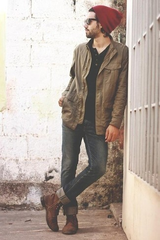How to wear: brown leather casual boots, black jeans, black henley shirt, tan barn jacket