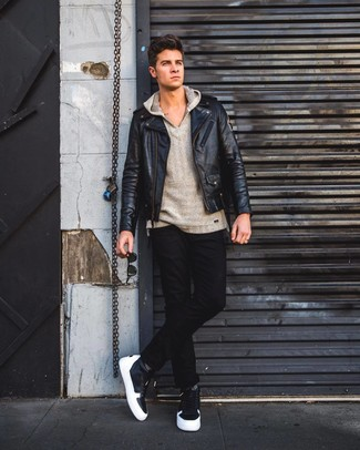 How to wear: black leather high top sneakers, black jeans, grey hoodie, black leather biker jacket
