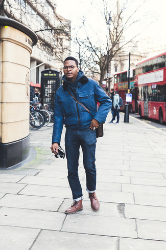 How to Wear a Dark Brown Leather Messenger Bag: Pair a blue leather bomber jacket with a dark brown leather messenger bag if you're after an outfit option for when you want to look laid-back and cool. Channel your inner Idris Elba and add a pair of brown leather brogue boots to the mix.
