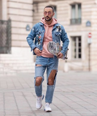 How to wear: white athletic shoes, light blue ripped jeans, pink hoodie, light blue print denim jacket