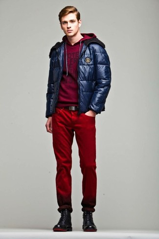 How to wear: black leather casual boots, red jeans, burgundy print hoodie, navy puffer jacket