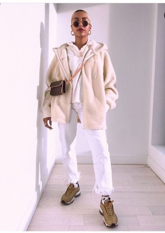 How to wear: olive athletic shoes, white fringe jeans, white hoodie, beige zip sweater