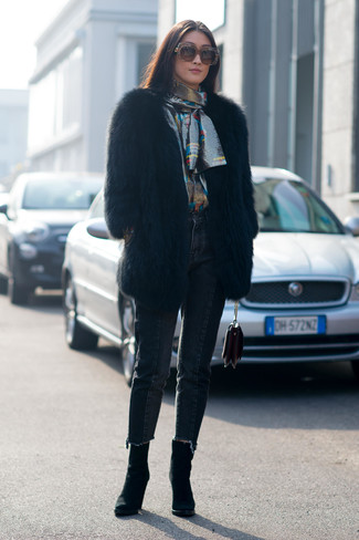 How to wear: black suede ankle boots, black jeans, silver long sleeve blouse, black fur coat