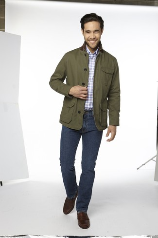 How to wear: dark brown leather loafers, navy jeans, light blue plaid long sleeve shirt, olive barn jacket