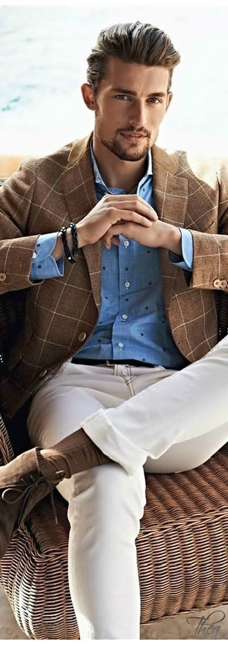 How to wear: brown suede desert boots, beige jeans, blue polka dot long sleeve shirt, brown check wool blazer