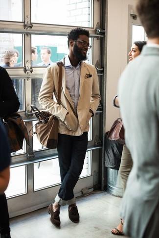 eea9c5d96686f How to wear: dark brown suede tassel loafers, black jeans, light blue long