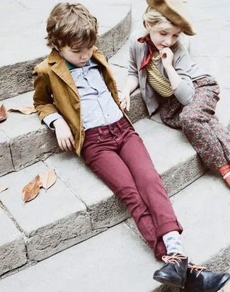 How to wear: black desert boots, burgundy jeans, grey long sleeve shirt, mustard blazer