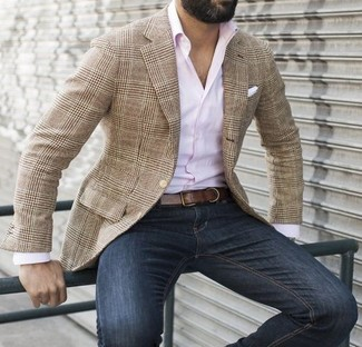 How to wear: white pocket square, navy jeans, pink long sleeve shirt, tan plaid blazer