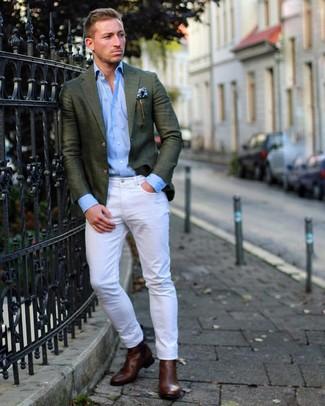 How to wear: dark brown leather chelsea boots, white jeans, light blue long sleeve shirt, dark green blazer