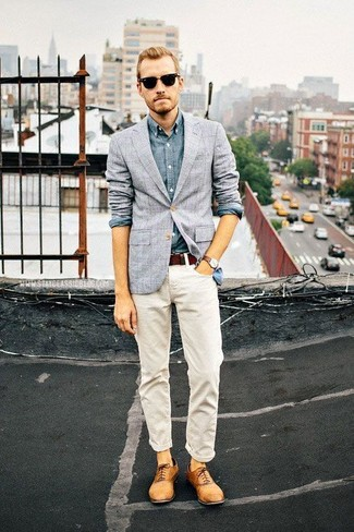 How to wear: tan leather oxford shoes, white jeans, blue chambray long sleeve shirt, grey check blazer