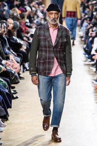 How to wear: brown leather brogues, blue jeans, pink long sleeve shirt, burgundy check wool blazer
