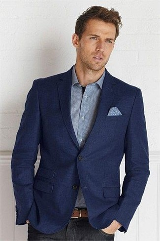 How to wear: light blue polka dot pocket square, black jeans, grey long sleeve shirt, navy wool blazer