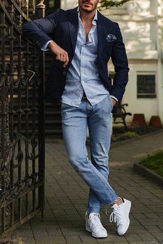 How to wear: white leather low top sneakers, light blue jeans, light blue vertical striped long sleeve shirt, navy blazer