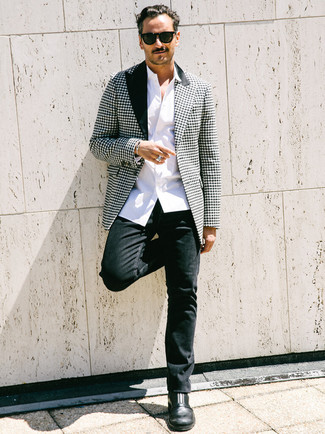 How to wear: black leather chelsea boots, black jeans, white long sleeve shirt, black and white houndstooth blazer