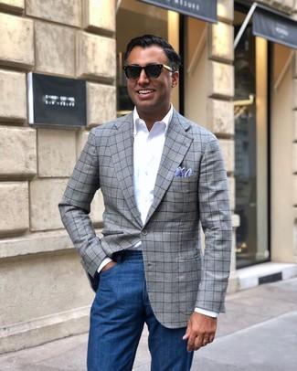 How to wear: light blue pocket square, blue jeans, white long sleeve shirt, grey plaid blazer