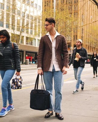 How to wear: dark brown leather loafers, light blue jeans, white linen long sleeve shirt, brown wool blazer