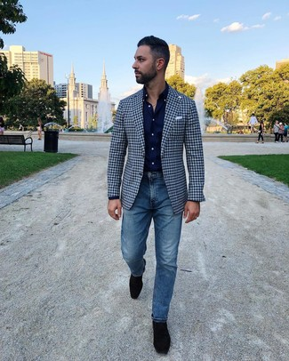 How to wear: black suede loafers, blue jeans, navy long sleeve shirt, navy gingham blazer