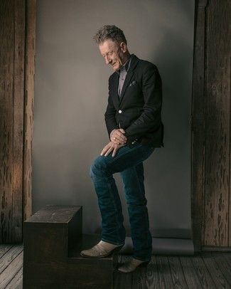 Fashion for Men Over 60: What To Wear: For an effortlessly refined getup, consider pairing a black blazer with navy jeans — these two pieces go beautifully together. Give a laid-back touch to this outfit with grey leather cowboy boots.