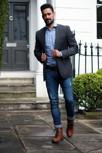 How to Wear Brown Leather Casual Boots For Men: For a look that's very easy but can be modified in a myriad of different ways, pair a charcoal blazer with blue ripped jeans. Get a little creative in the shoe department and elevate your outfit by finishing with brown leather casual boots.