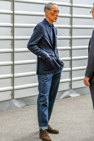 Fashion for Men Over 60: What To Wear: For an ensemble that's worthy of a modern trendsetting man and effortlessly smart, wear a navy blazer and navy jeans. Introduce a pair of dark brown suede desert boots to the mix and ta-da: the look is complete.
