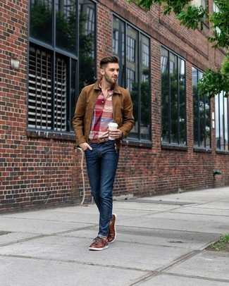How to wear: brown leather low top sneakers, navy jeans, red plaid long sleeve shirt, brown suede bomber jacket