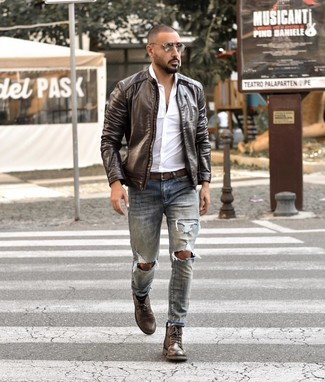 How to wear: dark brown leather casual boots, light blue ripped jeans, white long sleeve shirt, dark brown leather bomber jacket