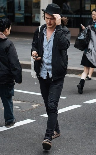 How to Wear a Black Bomber Jacket For Men: If it's comfort and functionality that you appreciate in an ensemble, choose a black bomber jacket and black jeans. For something more on the daring side to round off this outfit, add a pair of brown suede sandals to the equation.
