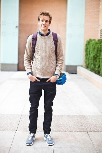 Men's Looks & Outfits: What To Wear Casually: If you're seeking to take your casual style game to a new level, opt for a beige cable sweater and navy jeans. With shoes, you can stick to a more casual route with blue athletic shoes.