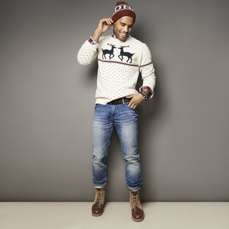 How to wear: dark brown leather casual boots, blue jeans, white and red and navy plaid long sleeve shirt, white christmas crew-neck sweater