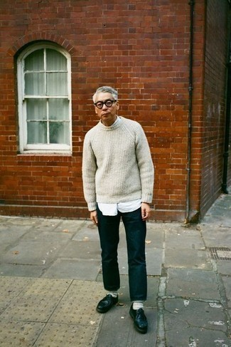 How to Wear a White Crew-neck Sweater For Men: If you want take your off-duty style to a new level, pair a white crew-neck sweater with navy jeans. To introduce a bit of flair to this getup, complement this look with a pair of black leather derby shoes.