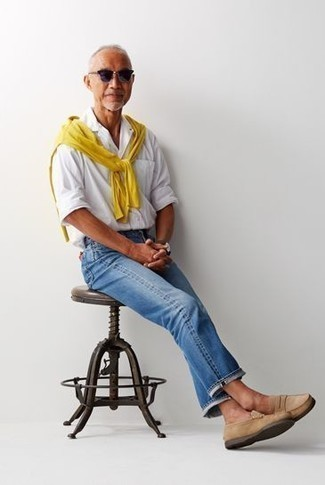 How to Wear a Yellow Crew-neck Sweater For Men: Why not try teaming a yellow crew-neck sweater with blue jeans? As well as super comfortable, these items look awesome paired together. Rev up the classiness of your outfit a bit by sporting a pair of tan suede loafers.