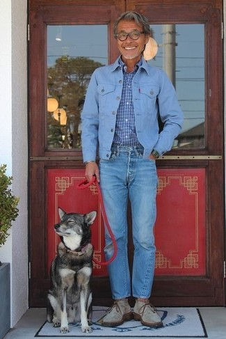 How to wear: grey suede desert boots, blue jeans, blue check long sleeve shirt, light blue denim jacket